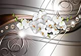 wandmotiv24 Fototapete Orchidee Muster Diamant, XS 150 x 105cm - 3 Teile, Fototapeten, Wandbild, Motivtapeten, Vlies-Tapeten, Licht, Linien, Blumen M1116