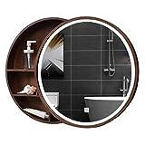 Wand-Spiegel Bad Spiegelschrank Badezimmerspiegel mit Regal Schrank Wand-Make-up Eitelkeit runden Spiegel