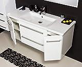 Quentis Badmöbel Serena, Breite 120 cm, Waschbecken und Unterschrank, weiß glänzend, 2 Türen, 2 Schubladen, Waschbeckenunterschrank montiert