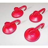 4X Haken mit Saugnapf Saughaken Küchen Halter Hooks Handtuchhalter Kunststoff rot