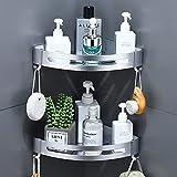 Duschregal Eckregal,Duschablage Ohne Bohren,Metall Badezimmer Regal Adhesive Dreieck Duschkorb mit 2 Haken-Wandregal Bad für die Aufbewahrung Shampoo(2 Stück,Sandstrahlen Silber)