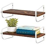 mDesign modernes Wandregal – schmales Holzregal mit rostbeständigen Metallhalterungen – Hängeregal für Bad, Küche, Büro, Schlafzimmer etc. – 2er-Set – mattweiß