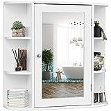 GOPLUS Spiegelschrank Bad, Badschrank mit Spiegel, Wandschrank weiß, Hängeschrank Holz, Badezimmerspiegelschrank mit viel Stauraum, 66 x 63 x 16,5 cm