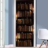 Türtapete Bücherregal 77 x 200cm 3D Tür-Wand-Aufkleber Alte Bücher Bibliothek Regal Bücherei Antik Kerzen Rustikal Tapete Fototapete Inklusive,Türtapete Selbstklebend Türposter - Fototapete