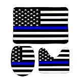 Badvorleger-Set, USA-Flagge, dünn, blau, Symbolisch, U-Form, Badezimmer, Teppiche, WC-Vorleger, rutschfest, saugfähig, Bad-Zubehör, Badezimmer-Dekoration