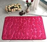 Badematte Kieselstein Pink 50cm x 80cm Anti-Rutsch Memory Effekt 3D Matte Vorleger