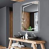 Alasta Spiegel | Berlin Badspiegel 70x120cm mit LED Beleuchtung | LED Farbe Weiß Kalt | LED Spiegel