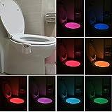 BSGP Motion Activated WC-Nachtlicht, LED WC-Sitz-Licht, Glow Bowl Auto Bewegungsmelder, wasserfest, bunt, für Zuhause, Badezimmer, Waschraum, WC mit 8 Farbwechsel