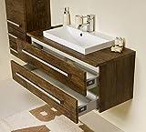 Quentis Badmöbel Susan, Breite 100 cm, Holzdekor antik, Waschbecken, Abdeckplatte mit Unterschrank, 2 Schubladen, Softeinzug, Waschbeckenunterschrank montiert