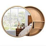Xing Hua home Wand-Spiegel Bad Spiegelschrank Badezimmerspiegel mit Regal Schrank Wand-Make-up Eitelkeit runden Spiegel (Color : Gold, Size : 70cm)