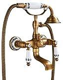 Rozin Wandhalterung Badewanne Wasserhahn Armatur mit Handbrause Duschbrause Zwei Griffe Messing Vintage Design Keramik Stil