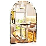 1000 MIRROWS® Spiegel mit Rundbogen und Facettenschliff   70 x 50 cm   Wandspiegel ohne Rahmen Badspiegel Dekospiegel Wand