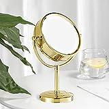 Spiegel Gold, Rostfreie Kosmetikspiegel Gold Rund, Vergrößerungsspiegel Gold, Goldener Kosmetikspiegel Metall, Kosmetikspiegel aus Messing Ø21.5 x 7