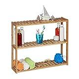 Relaxdays Wandregal Bambus, 3 Ablagen, höhenverstellbar, HBT: 50 x 60 x 15 cm, Bad & Küche, schmales Hängeregal, natur