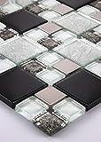 11 Matten 1m² Glasmosaik Mosaikfliesen Glas Edelstahl 30x30cm Schwarz Silber weiß