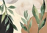 decomonkey Fototapete selbstklebend Pflanzen 245x175 cm Selbstklebende Tapeten Wand Fototapeten Tapete Wandtapete klebend Klebefolie Laub Blatt Pflanzen Abstrakt Formen Beige Braun