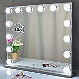 BEAUTME Hollywood Kosmetikspiegel mit Beleuchtung, Tischplatte/Wand befestigten Kosmetikspiegeln mit abnehmbarem Schminkspiegel mit 10-facher Vergrößerung