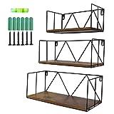 Amazon Brand - Umi 3er Set Rustikales Schweberegal mit Metalldraht für kleine Topfplanzen Dekostück beim Wohnzimmer Schlafzimmer und Büro