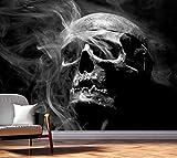 Vlies Tapete XXL Poster Fototapete Totenkopf Rauch Totenschädel Farbe schwarz weiß, Größe 140 x 100 cm selbstklebend