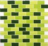 Mosaik Fliese Transluzent grün Brick Glasmosaik Crystal hellgrün grün dunkelgrün für WAND BAD WC DUSCHE KÜCHE FLIESENSPIEGEL THEKENVERKLEIDUNG BADEWANNENVERKLEIDUNG Mosaikmatte Mosaikplatte