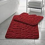 Elafy Rutschfeste Badematten-Set, 2-teilig, Memory-Schaum, Kieselstein-Design, WC-Vorleger-Set, sehr saugfähig und schnell trocknend, Badezimmer-Zubehör-Set, Farbe: Rot