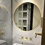 LJP Runder Spiegel Gold Metallrahmen Rasieren Dressingtable HD Nordische Moderne Anti Nebel zum Badezimmer Dekoration (Color : Gold, Size : 70cm)