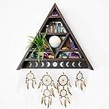 AMERICA EMPIRE Meditations-Dreieck-Regal für Kristalle, dreieckiges Wandregal, Kristallregal, Display für Steine, Hexendekoration für Zuhause, Kristallhalter, Kristallregal, Hexendekoration