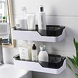 LBXKE Badezimmer-Wandregal, selbstklebend kein Bohren abnehmbare Plastik über Waschbecken Dekor Regal - geeignet für Küche/Schlafzimmer/WC,2Pack
