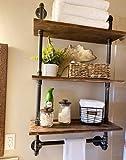 Rustikales Badezimmer-Regal, Handtuchregal, industrielles Rohr-Holzregal für Bauernhaus, 3 Ebenen, wandmontiert, schwebende Regale, Handtuchregal für Badezimmer