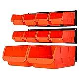 Wallmaster Wandmontierte Aufbewahrungskörbe, Wandaufbewahrungsbehälter, Teileregal, 10 Behälter und 3 Schienen, Wandmontage, Werkzeug-Organizer, Hardware-Aufbewahrungs-Organizer