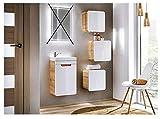 naka24 Gäste WC Badmöbel Set Aruba-Weiss/Eiche 40 cm Badmöbel Set mit Waschbecken (Waschbecken Waschbeckenunterschrank 3xHängeschrank)