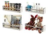 TQVAI Schweberegale Wandregal 4er Set Holz Wandregal für Schlafzimmer Wohnzimmer Bad Küche Büro Rustikal Weiß