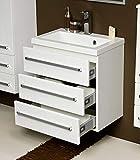 Quentis Badmöbel Genua, Breite 60 - Tiefe 39 cm, Waschbecken mit Unterschrank, 3 Schubladen für viel Stauraum, Softeinzug, weiß glänzend, Waschbeckenunterschrank montiert