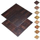 wodewa Holz WandverkleIdung Holzmosaik Fliese 28x28cm Wenge Echtholz Wandpaneele Moderne Wanddekoration Holz Holzverkleidung Fußboden Decke 30x93mm