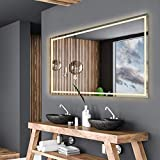 Alasta Spiegel | Atlanta Badspiegel 160x60cm mit LED Beleuchtung | LED Farbe Weiß Warm | LED Spiegel