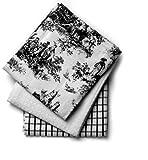 Mahagoni Toile 18von 71cm Küche Handtücher, Baumwolle, Set von 3, Baumwolle, schwarz/weiß, 18-inch by 28-inch Rectangle