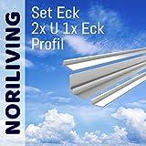 Noriliving Aluminium Profil Set für 3mm Aluverbund Duschrückwand (Silber matt) (Set Eck, 150cm Länge)