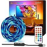 LED Streifen, USB TV LED Hintergrundbeleuchtung, Zethot Bias Beleuchtung für 50-65-Zoll-Fernseher 11,5 ft RGB LED Strip, Kit mit Fernbedienung, 12 farbwechselnde 5050 LEDs Bias Beleuchtung für HDTV