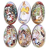 Winterworm 6pcs Creative Cute Dose Bunny Chick drucken Legierung Metall Ostern Eier Form Candy Box Halter