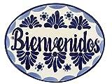 Casa Fiesta Designs 'Bienvenidos' Talavera (groß Keramik Fliesen Hause für–Handarbeit–25,4x 20,3cm Blau und Weiß
