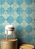 NEWROOM Tapete Blau Vliestapete Fliesen - Fliesenoptik Modern Grün Türkis Mosaik Stein Mustertapete Grafisch Marokkanisch inkl. Tapezier-Ratgeber