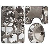 FAVIBES 3er Pack Steampunk Gear Cozy Memory Foam Badewannen Dusch Teppich Set, rutschfeste Gummiunterlage Schnelltrocknend Superabsorbierende Teppichböden in U Form für Badteppiche und Deckel