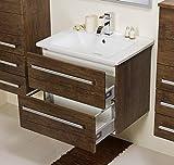 Quentis Badmöbel Serena 65, Keramikwaschtisch mit Unterschrank, Holzdekor antik, 2 Schubladen, Softeinzug, Waschbeckenunterschrank montiert