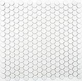 Mosaik Knopf uni weiß matt Keramik Mosaik   10 Mosaikmatten