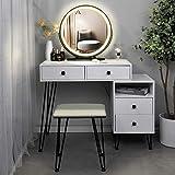 Tischset Schminktisch mit beleuchtetem Spiegel in 3 Farben, 1 Aufbewahrungsschrank und 2 Schubladen, gepolstertem Hocker, für Mädchen, Frauen, Kommode Schreibtisch Schlafzimmer, weiß