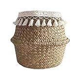 Wosiky Naturkorb Seegras Ablagekorb, Faltbarer gewebter Aufbewahrungskorb Pflanzen Sie Strohkorb für Pflanze Blumentopf Spielzeug Wäsche Lagerung Veranstalter Strandtasche