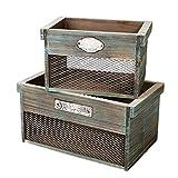 SLPR Dekorative Holzkiste mit Metallplatte (2er Set) | Rustikaler Bauernhaus Holzkiste Mülleimer