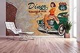 awallo Fototapete – Motiv «American Diner» in Beige, Grau, Grün, Rot   400x270cm   XXL Bild-Tapete Wand-Bild Digitaldruck   hochwertige Vliestapete – Made in Germany   einfache Verarbeitung