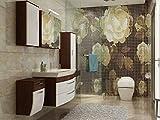 badmöbelset Schönes großes Badezimmer Rom in Hochgl. weiß/Walnuss-Nb. mit Hochschrank Hängeschrank Unterschrank Waschplatz und Spiegelschrank