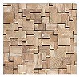HO-011-1 Teakholz Mosaikfliese auf Netz Wandverblender Wandverkleidung Holz Design Wand-Deko Wood Wall Panel - Fliesen Lager Stein-mosaik Verkauf Herne NRW